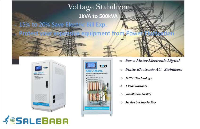 AUTOMATIC VOLTAGE STABLIZER TOWER DOUBLE COIL LCD DISPLAY 15KVA